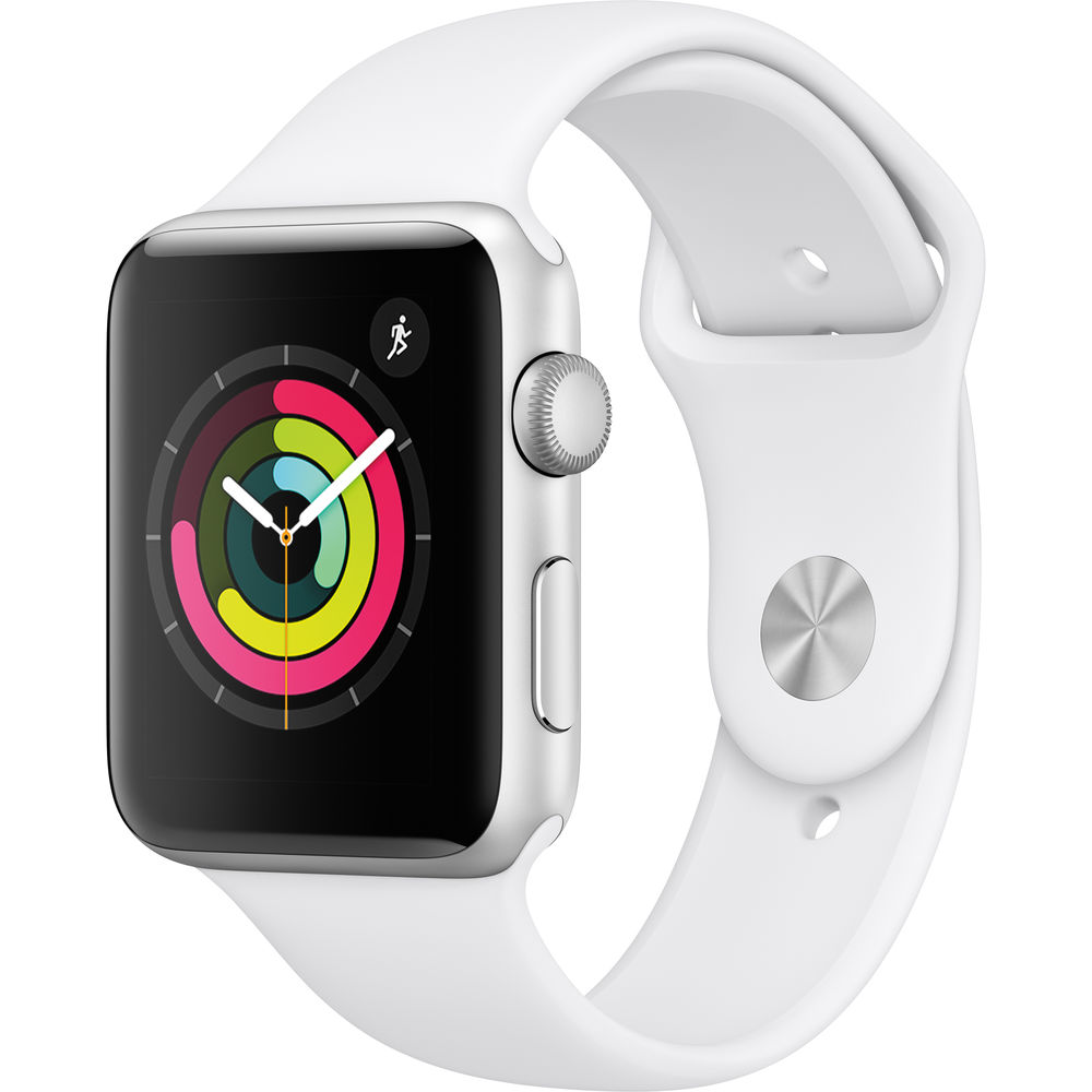 Apple Watch Series 3 42mm Silver Aluminum Case with White Sport Band (GPS Only)