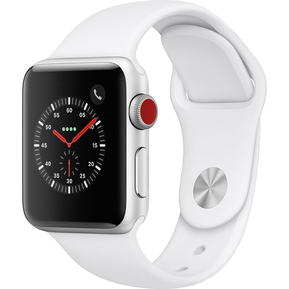 Apple Watch Series 3 38mm Silver Aluminum Case with White Sport Band (GPS + Cellular)