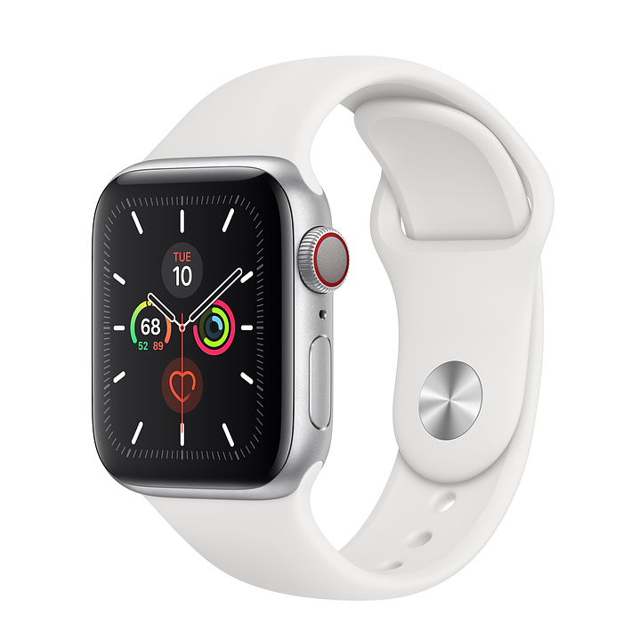 Apple Watch Series 5 GPS + Cellular, 40mm Silver Aluminum Case with White Sport Band - S/M & M/L