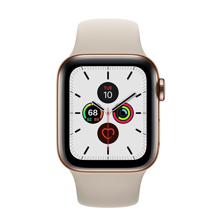 Apple Watch Series 5 GPS + Cellular, 40mm Gold Stainless Steel Case with Stone Sport Band - S/M & M/L