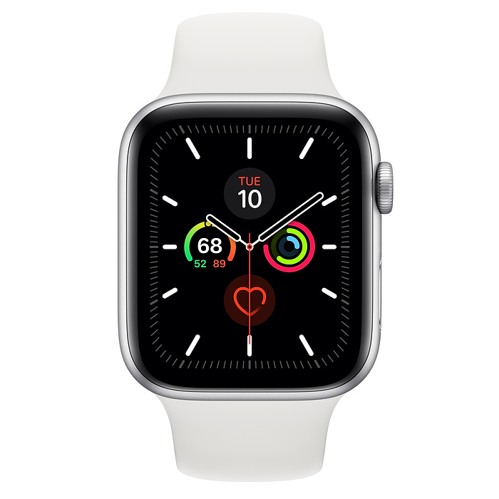 Apple Watch Series 5 GPS, 44mm Silver Aluminum Case with White Sport Band - S/M & M/L