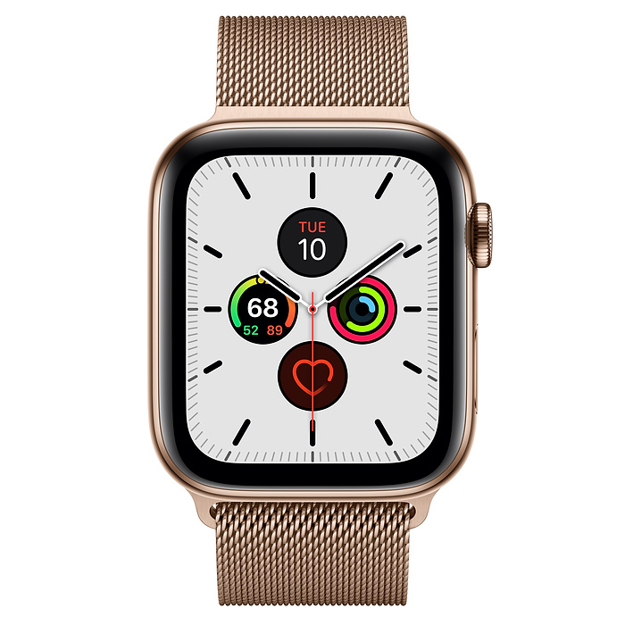 Apple Watch Series 5 GPS + Cellular, 44mm Gold Stainless Steel Case with Gold Milanese Loop