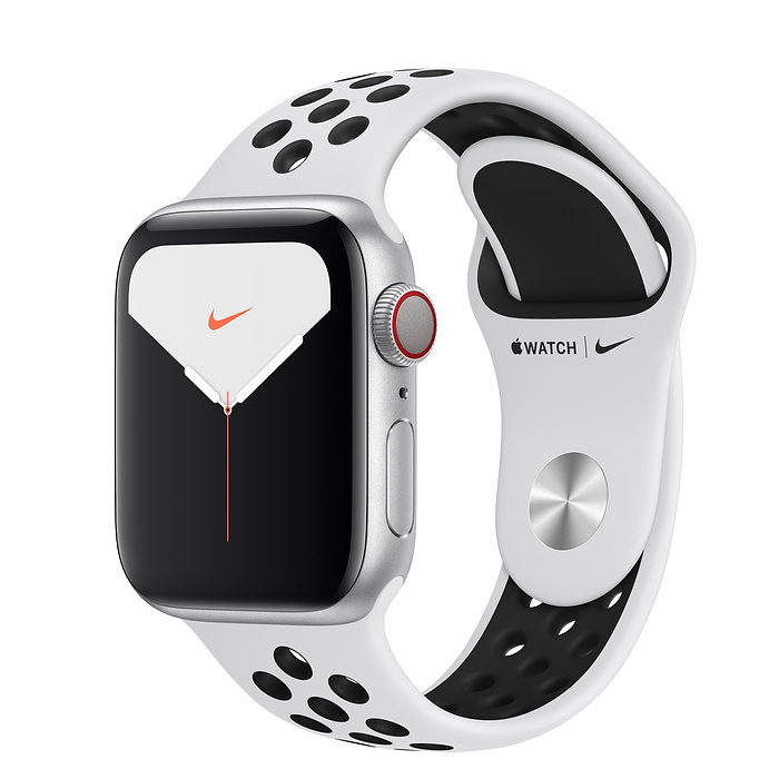 Apple Watch Nike Series 5 GPS + Cellular, 40mm Silver Aluminum Case with Pure Platinum/Black Nike Sport Band - S/M & M/L