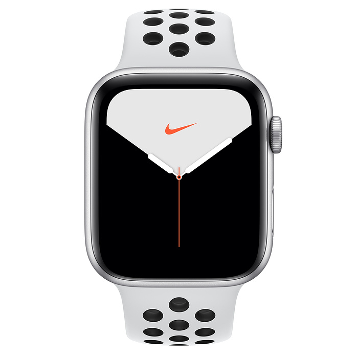 Apple Watch Nike Series 5 GPS, 44mm Silver Aluminum Case with Pure Platinum/Black Nike Sport Band - S/M & M/L