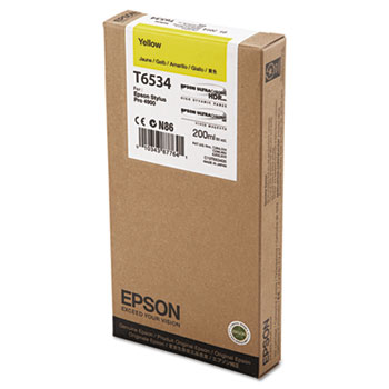 Epson T653, 200 ml Yellow UltraChrome HDR Ink Cartridge
