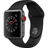 Apple Watch Series 3 38mm Space Gray Aluminum Case with Black Sport Band (GPS + Cellular)