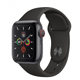 Apple Watch Series 5 GPS + Cellular, 40mm Space Gray Aluminum Case with Black Sport Band - S/M & M/L