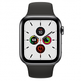 Apple Watch Series 5 GPS + Cellular, 44mm Space Black Stainless Steel Case with Black Sport Band - S/M & M/L